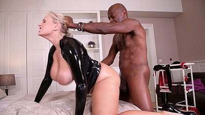 Busty blonde Angel Wicky orders interracial BDSM anal services with BBC GP1362