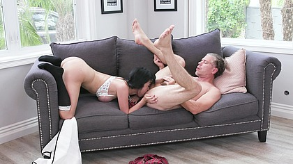 Horny Asian Schoolgirl Stretched Out by English Tutor on Dads Couch GP2041