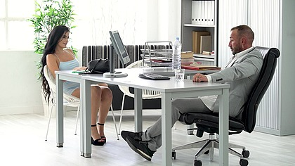 Thick Spanish Slut Secures the Job by Giving the Boss Access to All Her Holes GP2057