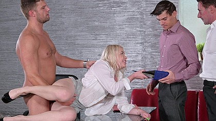 Office DP with Cheating Blonde Secretary Lola Taylor and 3 Colleagues GP2053
