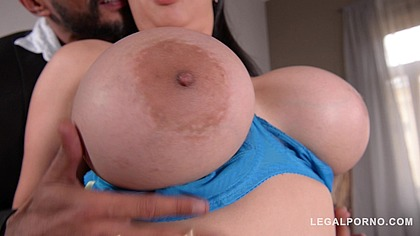 Loads of cum on curvy housewife Tigerr Benson's big tits after DP action GP352