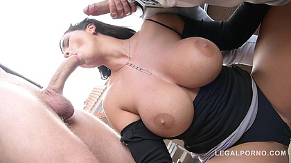 Top-Heavy Porn Goddess Chloe Lamour DP'ed By Two Studs For Cum All Over Big Tits GP090