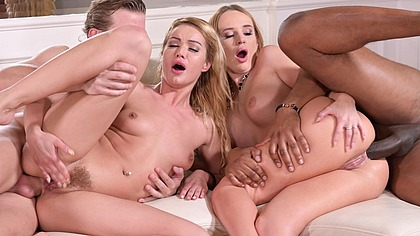 Interracial DP Foursome With Cheating Husband and Wife and Their Fuck Buddies GP2061