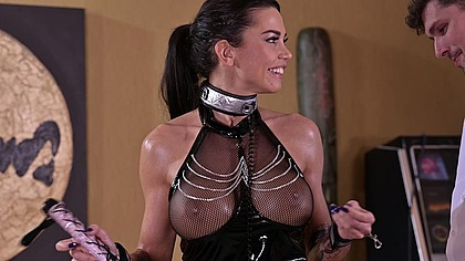 Magnificent-Mammaried Chloe is Whipped in Latex Before Getting DP'd GP1808