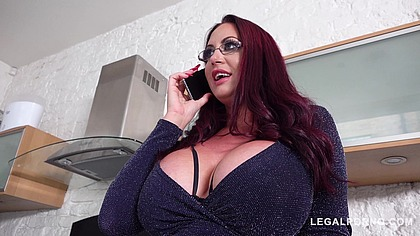 Emma Butt's gigantic tits make him cram her mouth & pussy with his shaft GP260